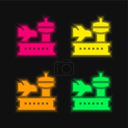 Foto de Aeropuerto de cuatro colores brillante icono de vectores de neón - Imagen libre de derechos
