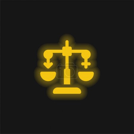 Illustration for Balance yellow glowing neon icon - Royalty Free Image