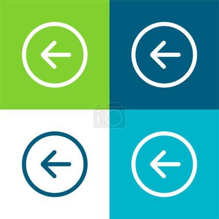 Back Left Arrow Circular Button Outline Flat four color minimal icon set