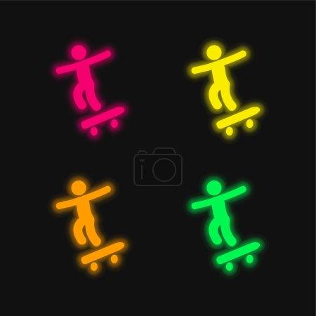Chłopiec z deskorolki cztery kolory świecące neon wektor ikona