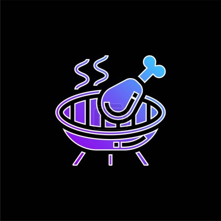 Illustration pour Icône vectorielle dégradé bleu barbecue - image libre de droit