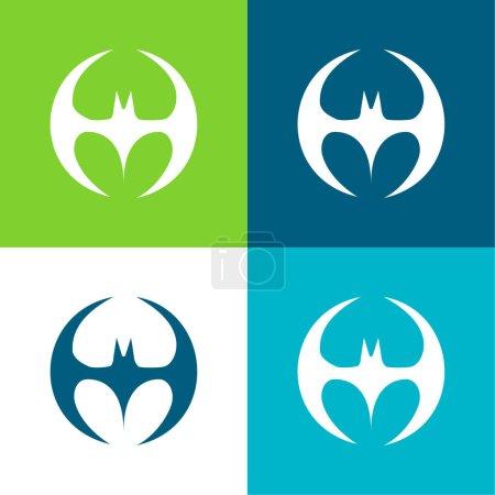 Illustration pour Silhouette de chauve-souris Forme noire avec des ailes formant un cercle Ensemble d'icônes minimal de quatre couleurs plates - image libre de droit