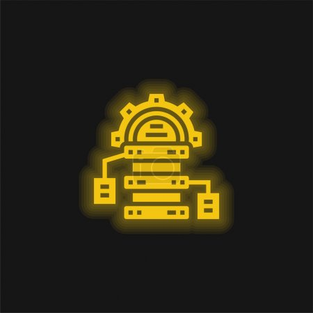 Illustration for Big Data yellow glowing neon icon - Royalty Free Image