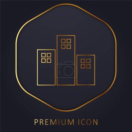 Photo pour Appartements Bâtiments ligne d'or logo premium ou icône - image libre de droit