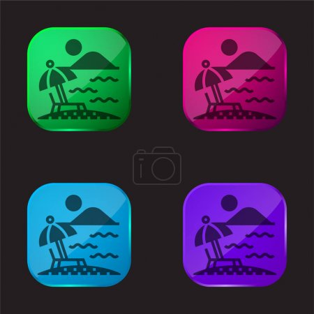 Illustration for Beach four color glass button icon - Royalty Free Image