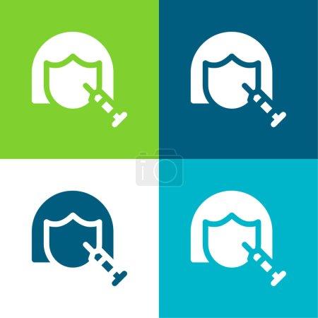 Illustration pour Botox Ensemble d'icônes minimal plat quatre couleurs - image libre de droit
