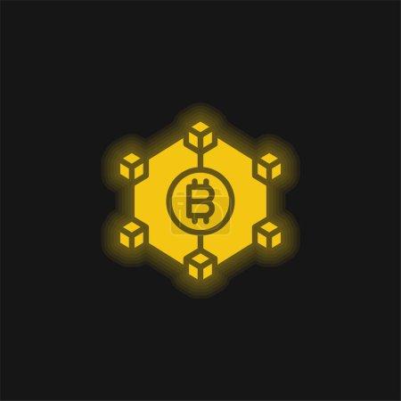 Illustration pour Blockchain jaune brillant icône néon - image libre de droit