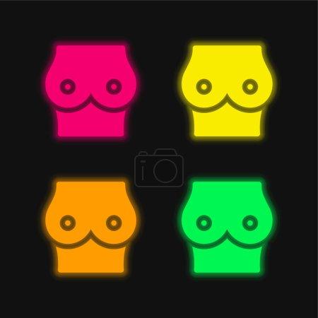 Breast four color glowing neon vector icon