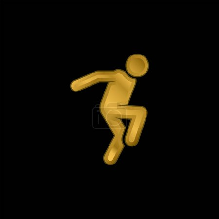 Breakdance gold plated metalic icon or logo vector
