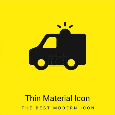 Illustration for Ambulance With Light minimal bright yellow material icon - Royalty Free Image