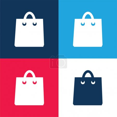 Illustration for Black Shopping Bag Tool blue and red four color minimal icon set - Royalty Free Image
