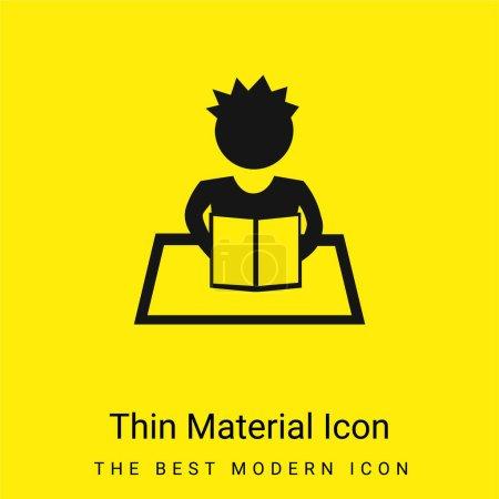 Illustration pour Garçon lecture minimale jaune vif icône matérielle - image libre de droit