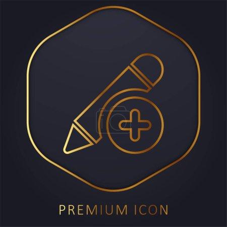 Photo pour Ajoutez un logo ou une icône premium ligne dorée - image libre de droit