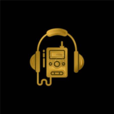 Illustration pour Audio Guide icône métallique plaqué or ou logo vecteur - image libre de droit