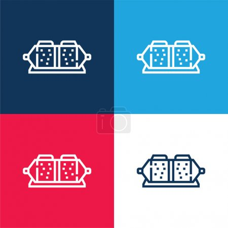 Brake Pad blue and red four color minimal icon set