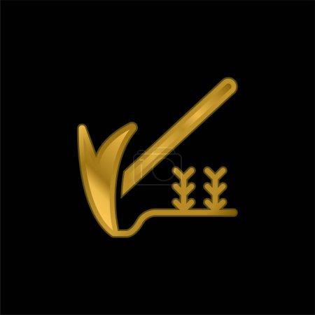 Illustration pour Icône métallique plaqué or agriculture ou vecteur de logo - image libre de droit