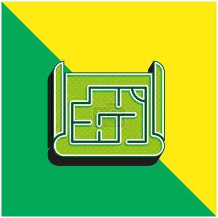 Blueprint Logo vectoriel 3D moderne vert et jaune