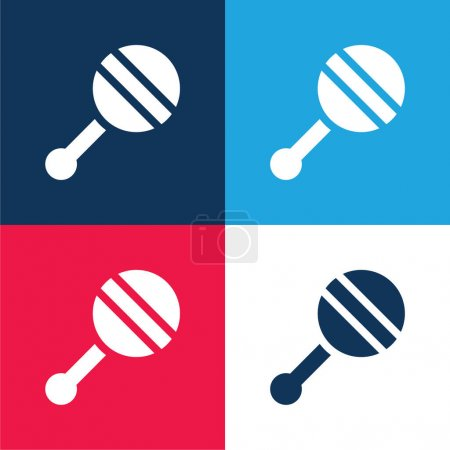 Illustration pour Hochet bébé bleu et rouge quatre couleurs minimum jeu d'icônes - image libre de droit