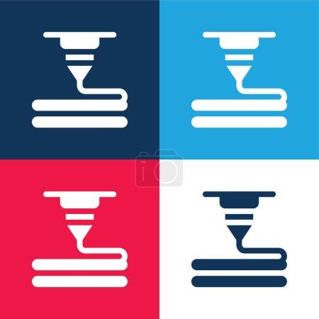 Illustration pour Imprimante 3d bleu et rouge quatre couleurs minimum jeu d'icônes - image libre de droit