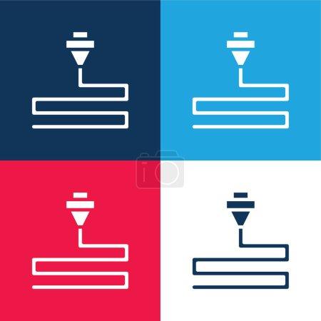 Photo pour Impression 3d bleu et rouge quatre couleurs minimum jeu d'icônes - image libre de droit