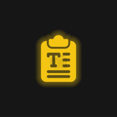 Illustration pour Article jaune brillant icône néon - image libre de droit