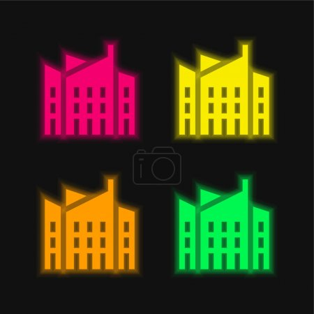 Illustration for Architecture four color glowing neon vector icon - Royalty Free Image