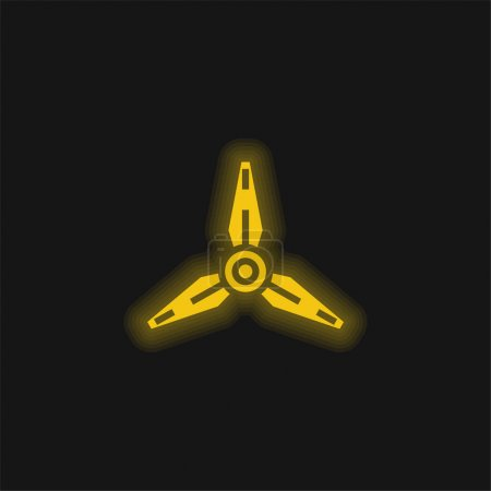 Illustration for Blades yellow glowing neon icon - Royalty Free Image