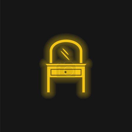 Foto de Espejo del sitio de la cama en un icono de neón brillante amarillo de los muebles del cajón - Imagen libre de derechos