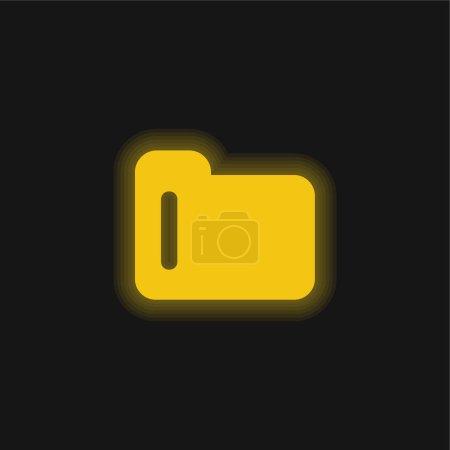 Illustration pour Symbole dossier noir icône néon jaune brillant - image libre de droit