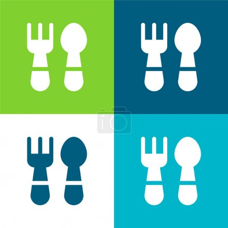 Baby Cutlery Flat four color minimal icon set