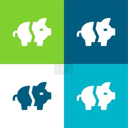 Photo pour Bankrupt Ensemble d'icônes minimal plat quatre couleurs - image libre de droit