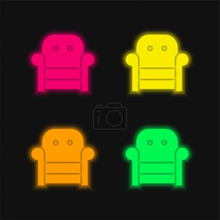 Armchair four color glowing neon vector icon