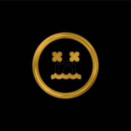Illustration pour Icône métallique plaquée or Emoticon Square Face annulée ou vecteur de logo - image libre de droit