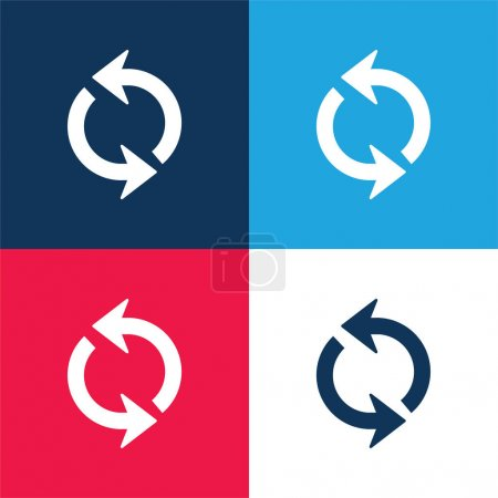 Arrows Circle blue and red four color minimal icon set