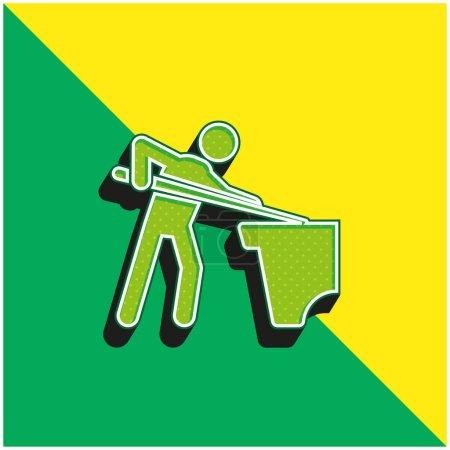 Photo pour Billard Vert et jaune icône vectorielle 3d moderne logo - image libre de droit