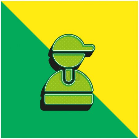 Illustration for Boy Green and yellow modern 3d vector icon logo - Royalty Free Image