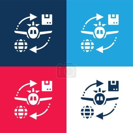 Illustration pour Air Avion bleu et rouge quatre couleurs minimum icône ensemble - image libre de droit