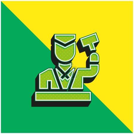 Illustration pour Vente aux enchères Logo vectoriel 3D moderne vert et jaune - image libre de droit