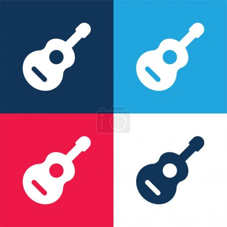Acoustic Guitar blue and red four color minimal icon set