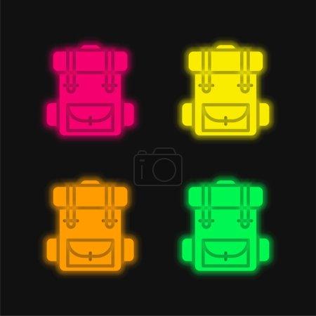 Illustration pour Sac à dos quatre couleurs brillant icône vectorielle néon - image libre de droit
