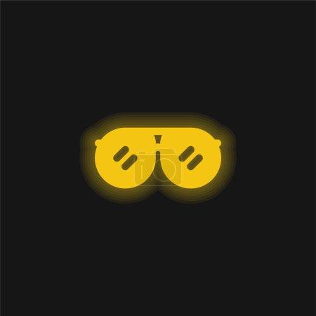 Illustration pour Accessoire jaune brillant icône néon - image libre de droit