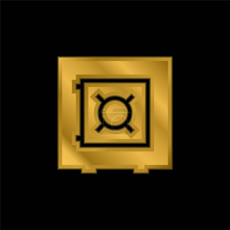 Bank Security Box gold plated metalic icon or logo vector