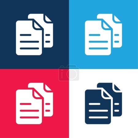 Illustration pour Archives bleu et rouge quatre couleurs minimum jeu d'icônes - image libre de droit