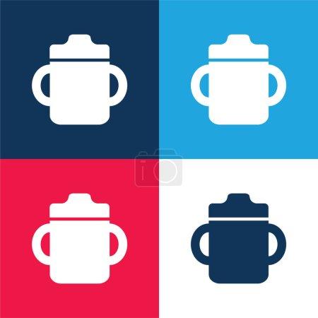 Photo pour Bouteille de boisson pour bébé avec poignée des deux côtés bleu et rouge ensemble d'icônes minimales de quatre couleurs - image libre de droit