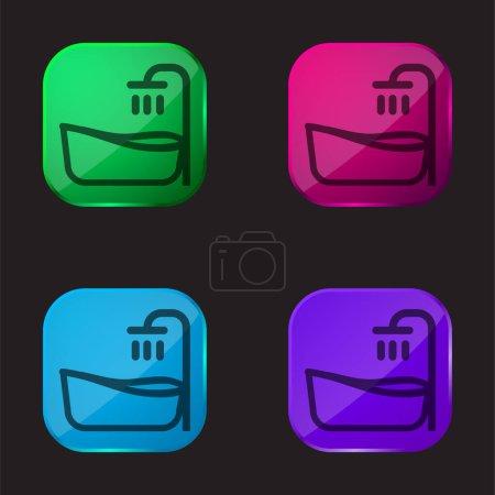 Baignoire icône bouton en verre quatre couleurs