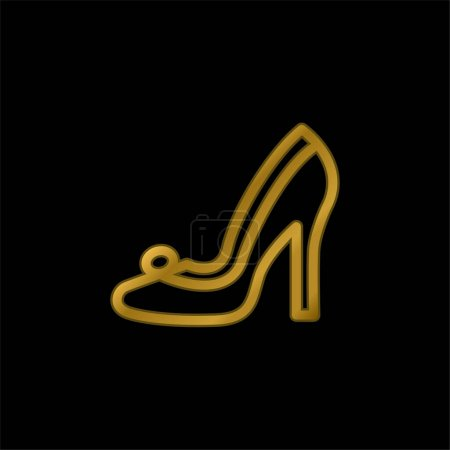 Illustration pour Chaussure de mariée plaqué or icône métallique ou logo vecteur - image libre de droit