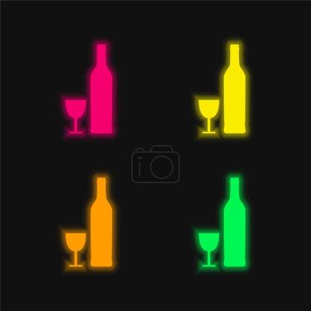 Illustration pour Bouteille et verre Formes quatre couleur brillant néon vecteur icône - image libre de droit