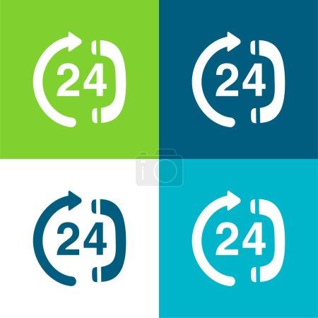 Illustration pour Service téléphonique 24 heures sur 24 Centre de service Ensemble d'icônes minimal plat quatre couleurs - image libre de droit