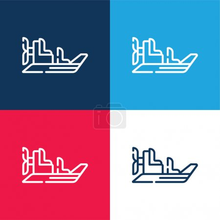 Illustration for Boat blue and red four color minimal icon set - Royalty Free Image