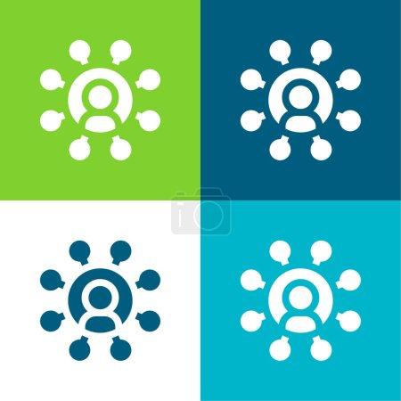 Illustration pour Affilié plat quatre couleurs minimum jeu d'icônes - image libre de droit